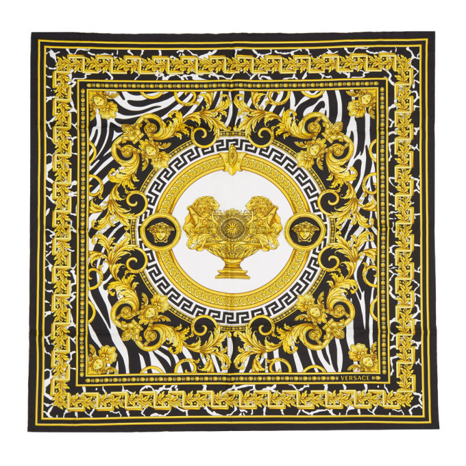 Photo: Versace Off-White and Black Baroque Scarf