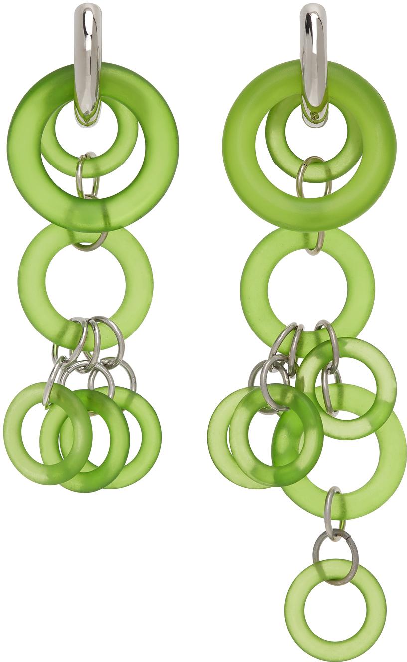 Photo: Dries Van Noten Green & Silver Asymmetric Drop Earrings