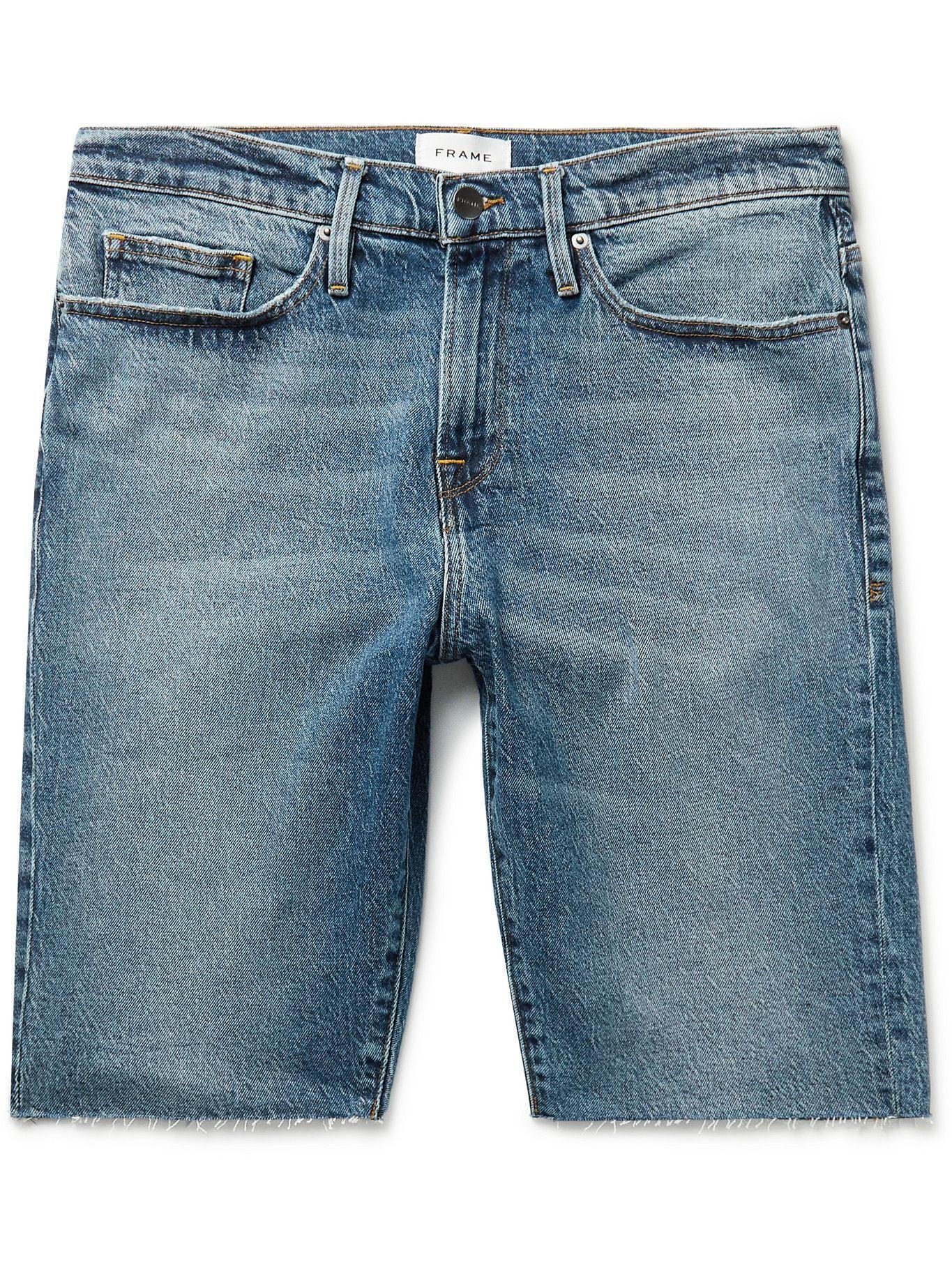 Photo: FRAME - Frayed Stretch-Denim Shorts - Blue