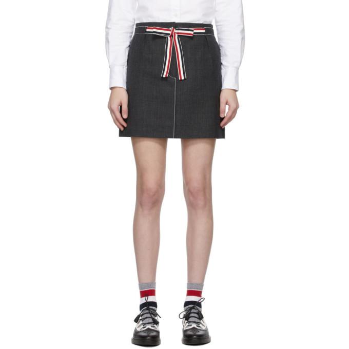 Photo: Thom Browne Grey Sack Tie Waist Miniskirt