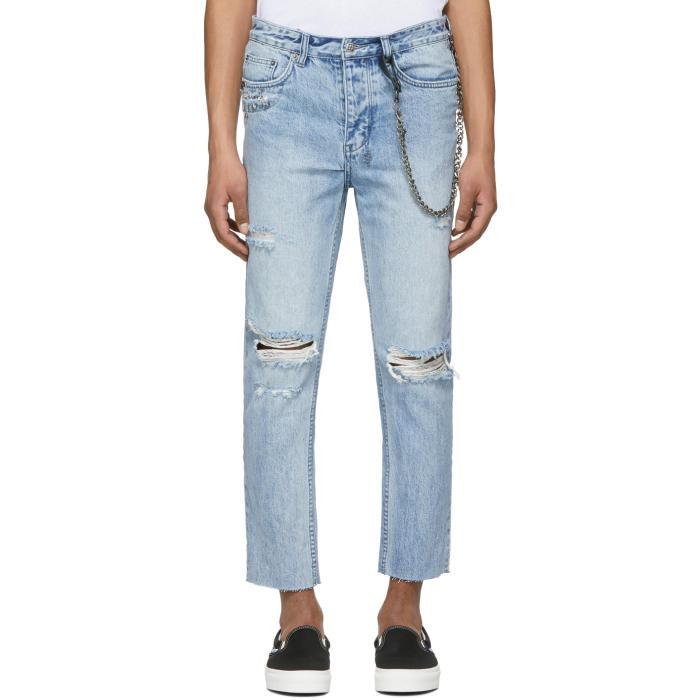 Ksubi Blue Chitch Chop Punk Pin Jeans