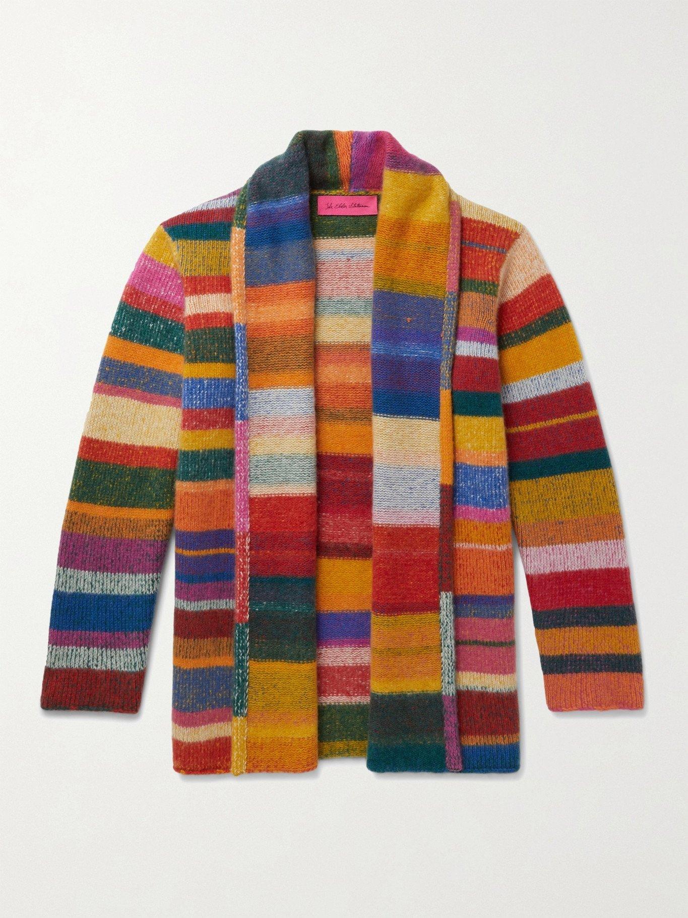 Photo: THE ELDER STATESMAN - Shawl-Collar Striped Cashmere Cardigan - Multi