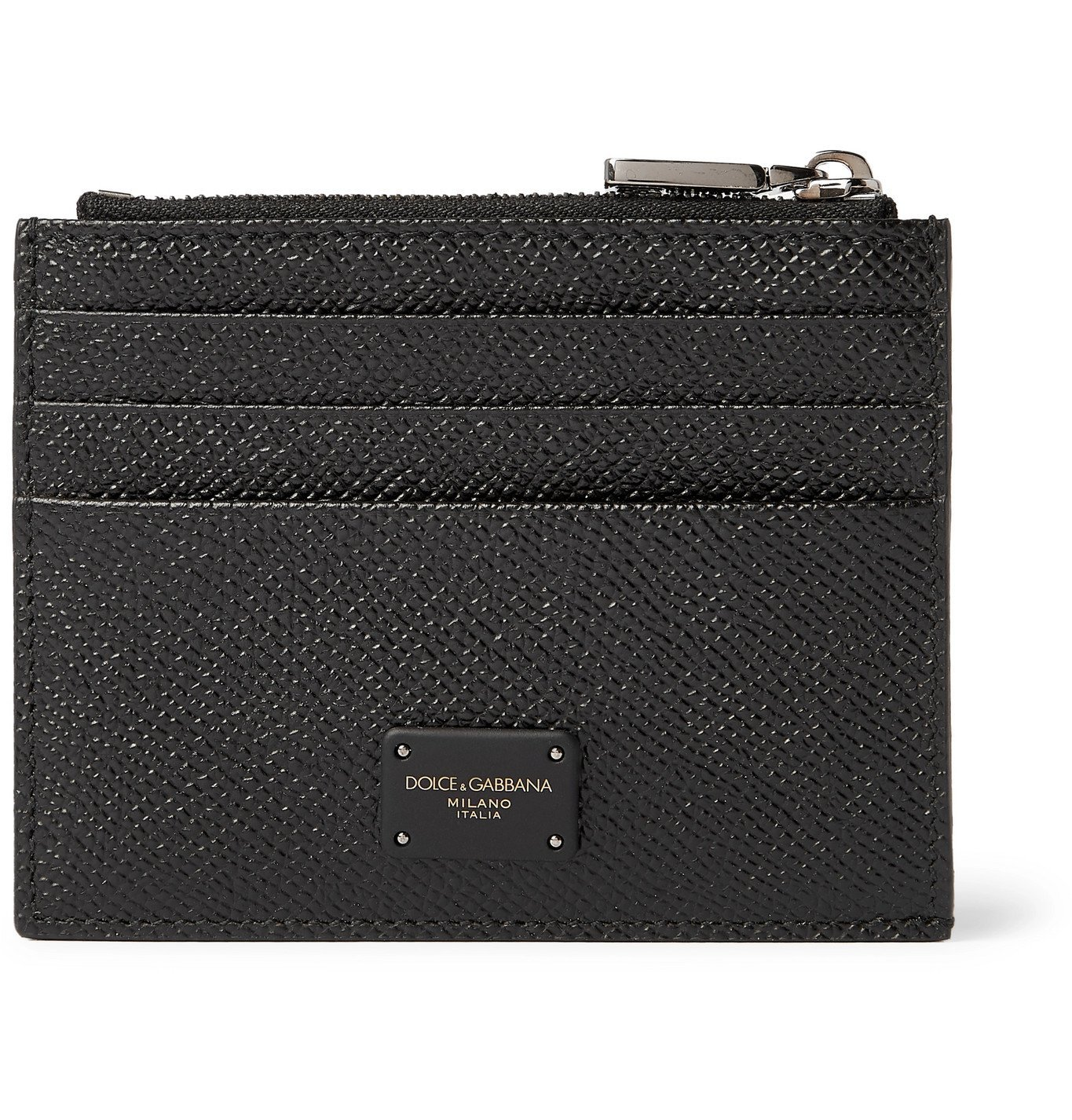 Photo: Dolce & Gabbana - Logo-Appliquéd Pebble-Grain Leather Cardholder - Black