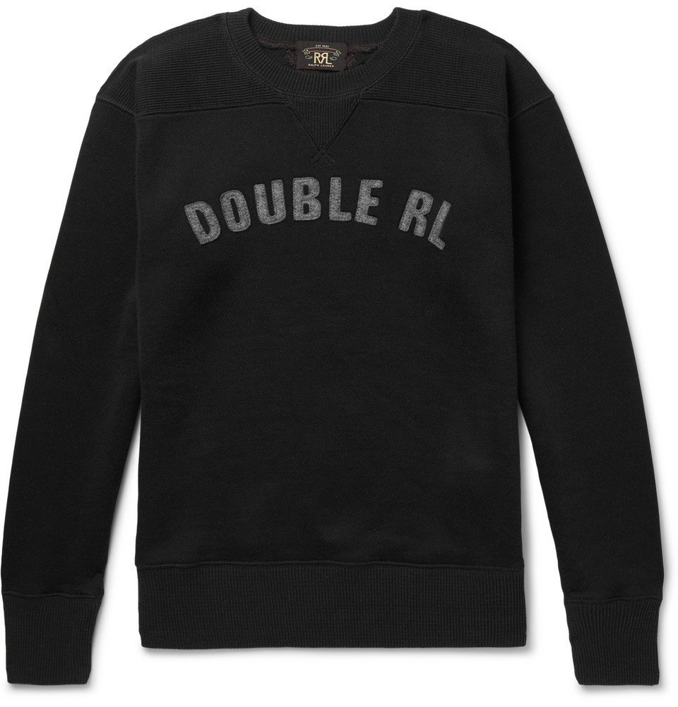 Photo: RRL - Logo-Appliquéd Fleece-Back Jersey Sweatshirt - Black