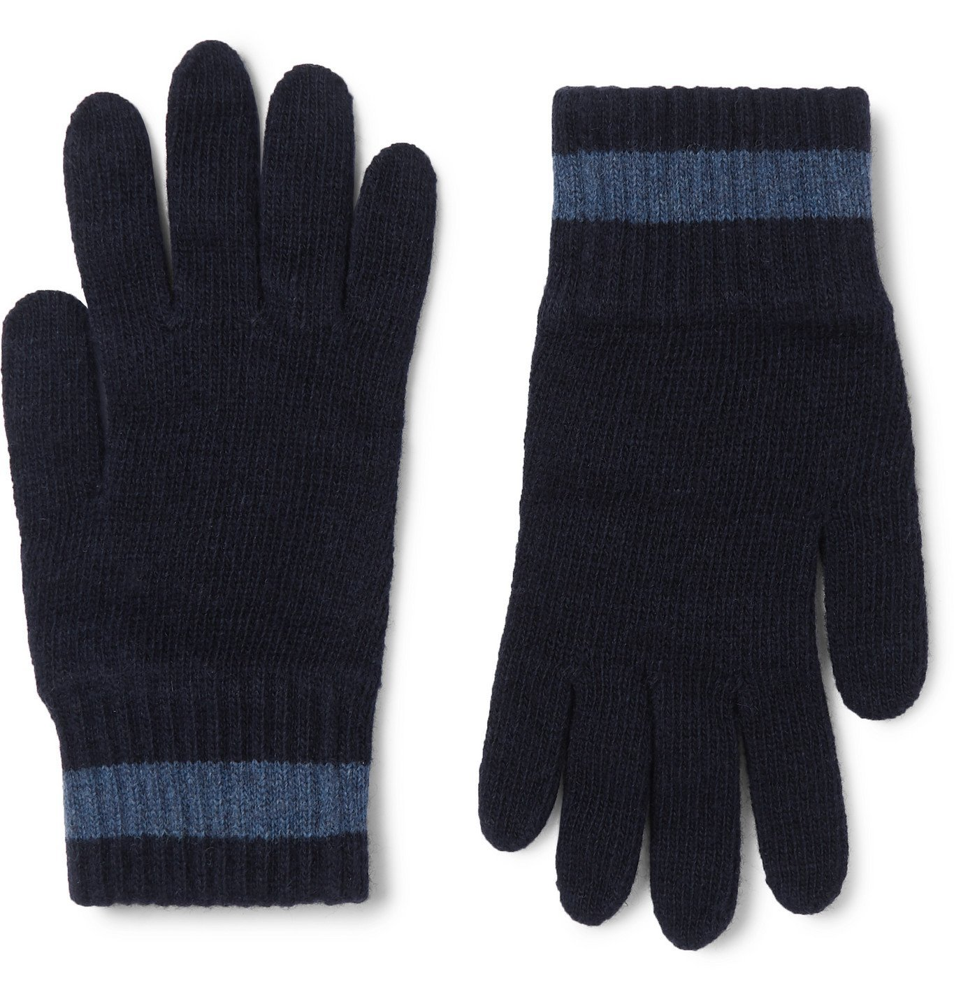 Photo: Oliver Spencer - Striped Wool-Blend Gloves - Blue