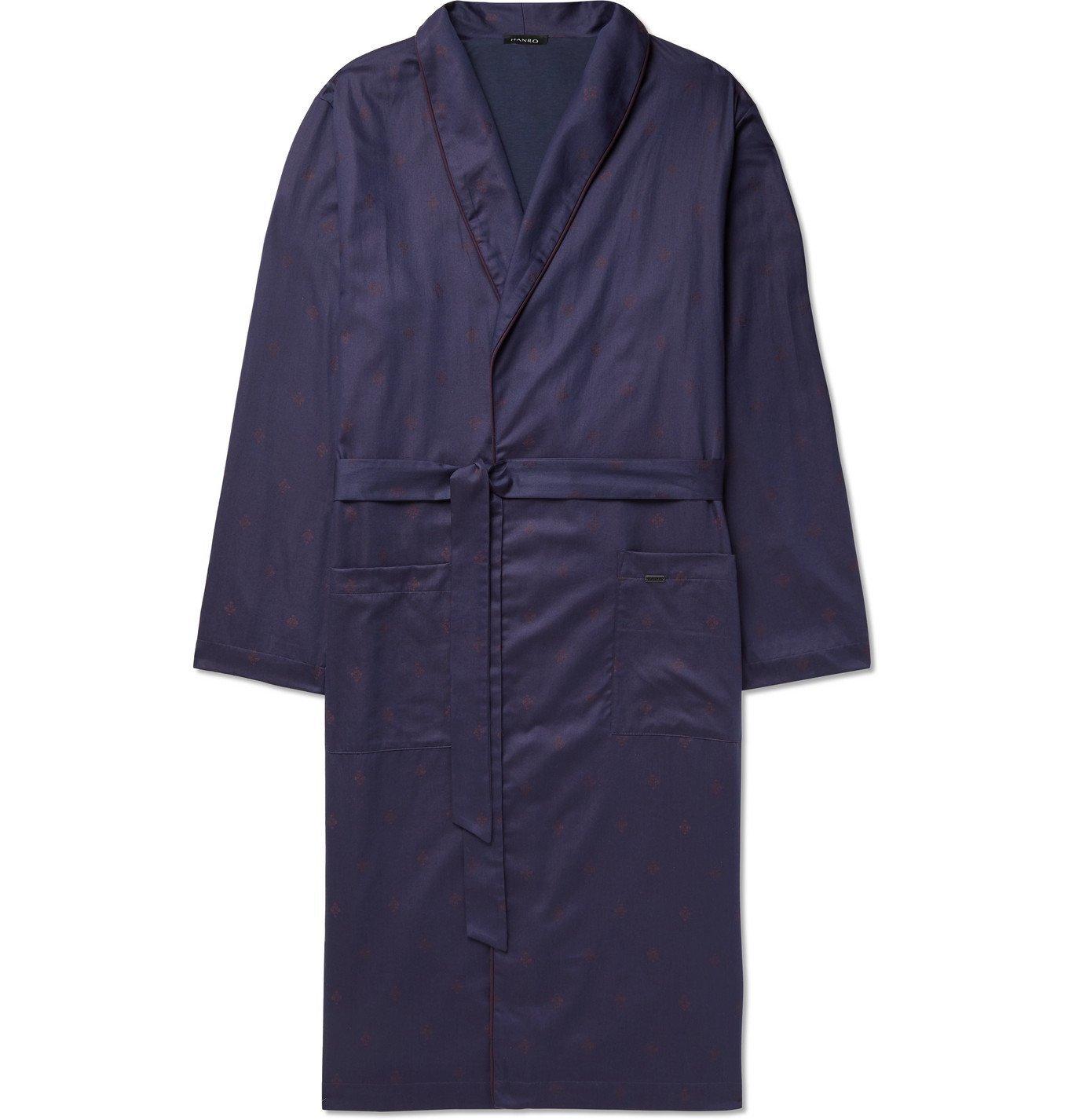 Hanro - Leano Piped Cotton-Jacquard Robe - Blue