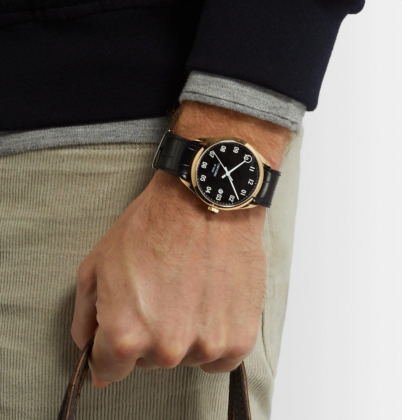 Tom Ford Timepieces - 002 40mm 18-Karat Gold and Alligator Watch - Black
