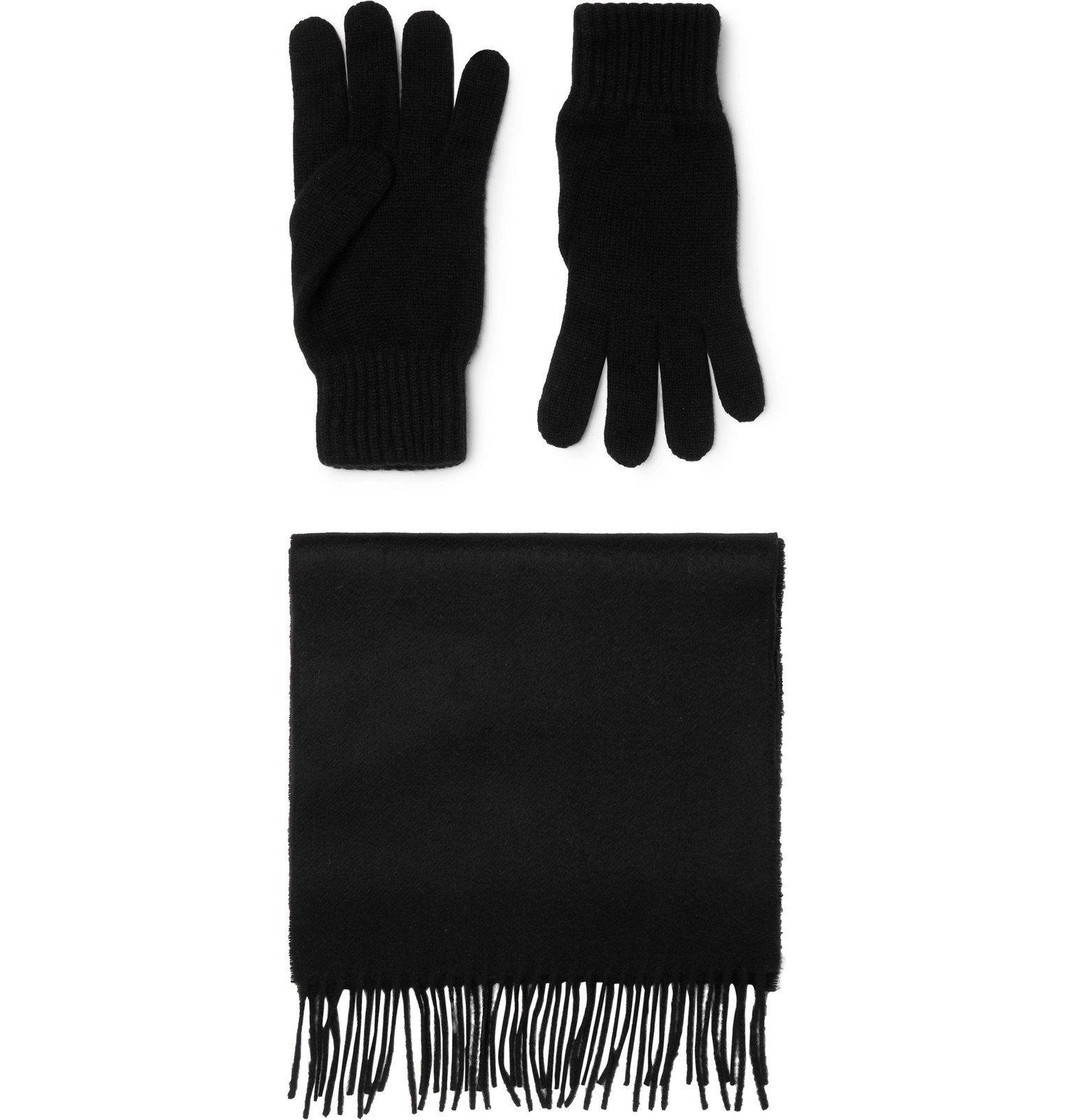 Photo: Johnstons of Elgin - Cashmere Scarf and Gloves Set - Black