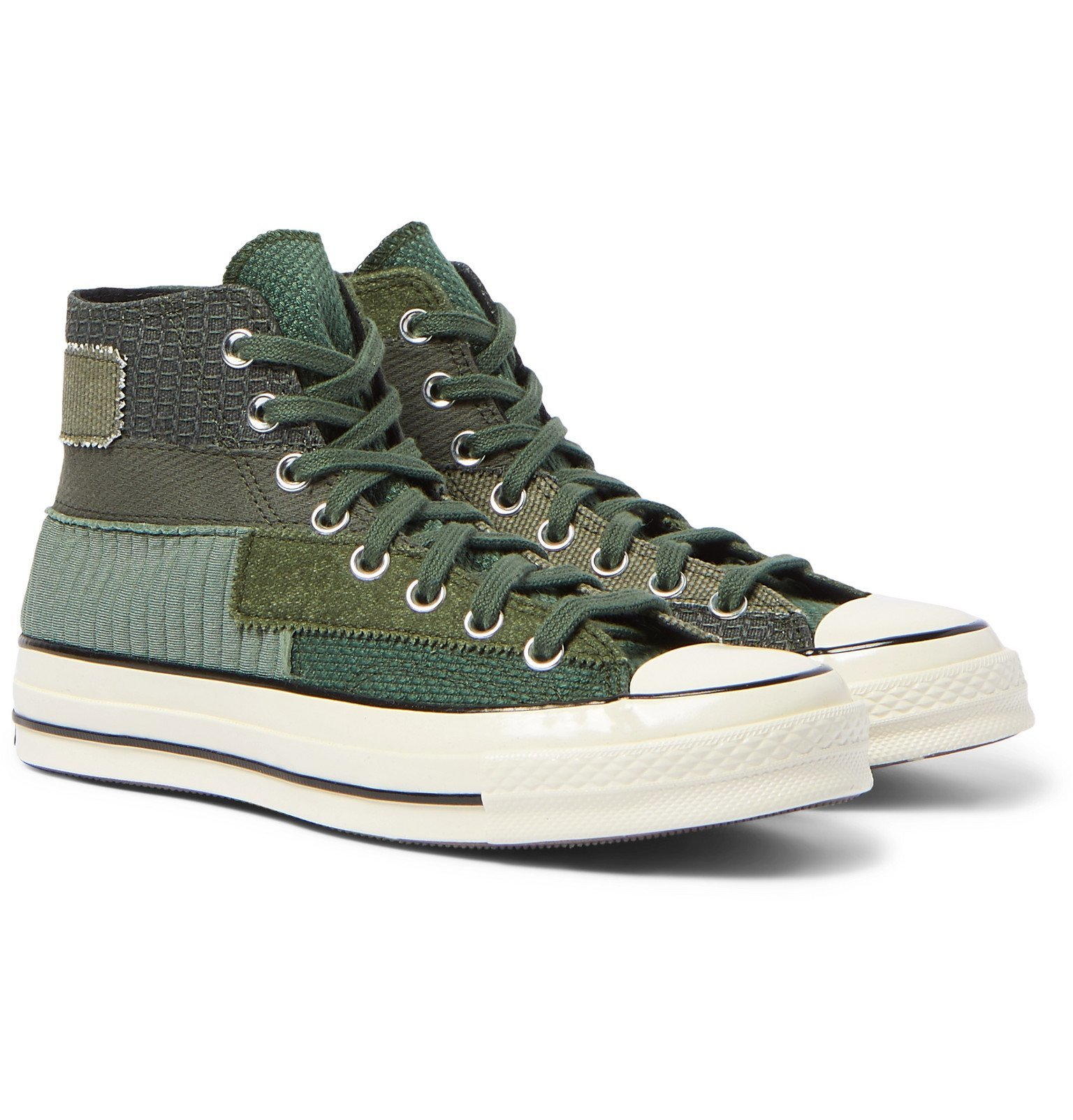 Photo: Converse - Chuck 70 Patchwork Canvas and Twill High-Top Sneakers - Green