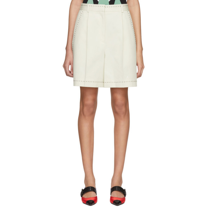 Photo: Bottega Veneta Off-White Studded High-Waisted Shorts