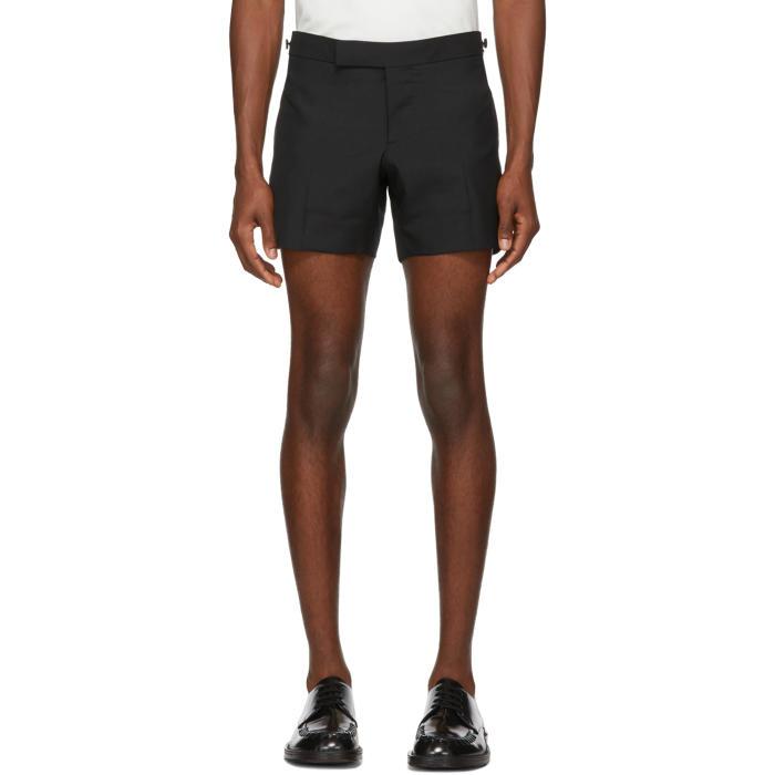 Photo: Thom Browne Black Low-Rise Skinny Mini Shorts