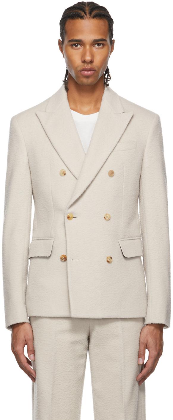 Photo: AMIRI Off-White Boiled Wool Double-Breasted Blazer