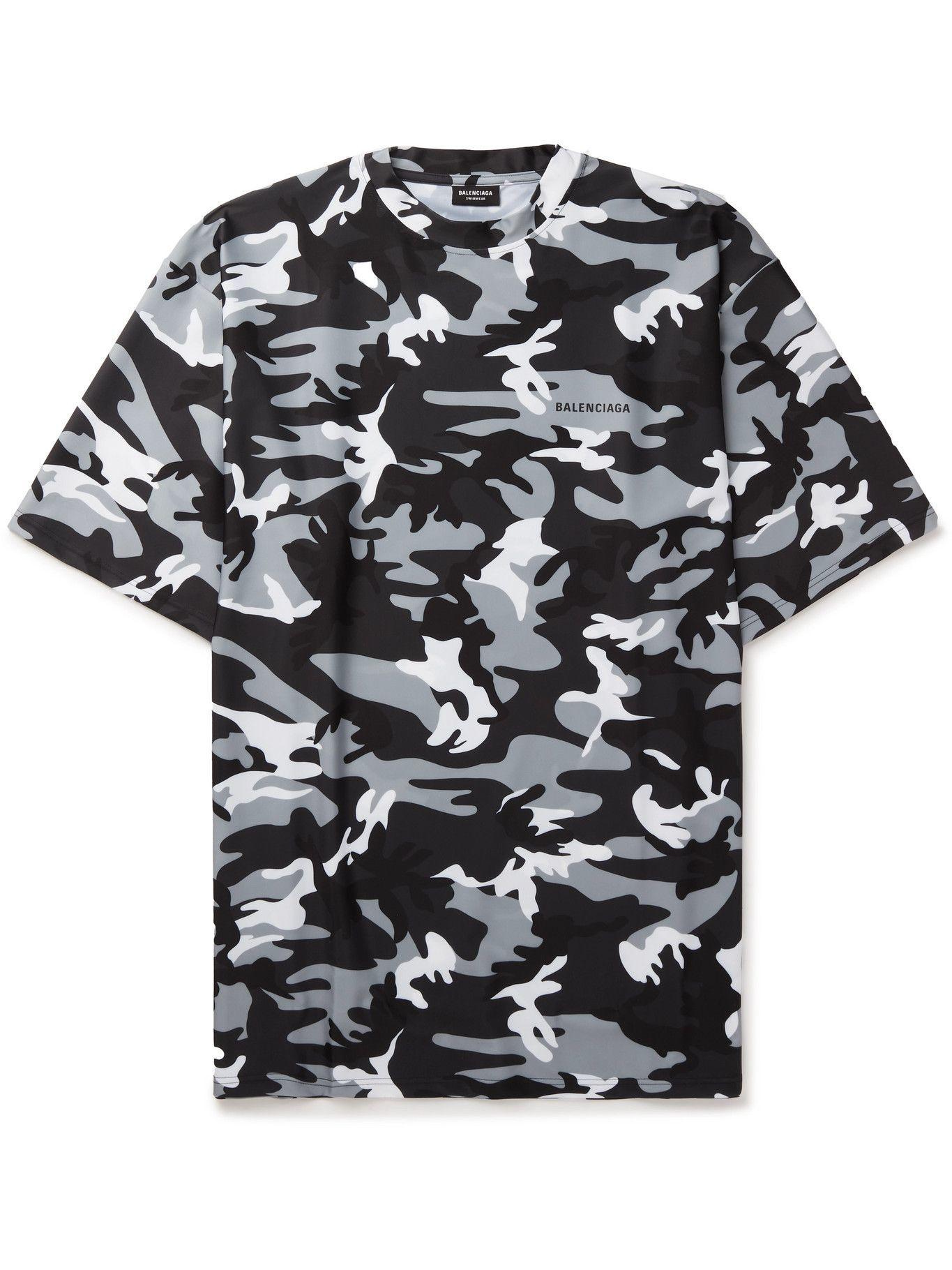 Photo: BALENCIAGA - Swim Oversized Camouflage-Print Shell T-Shirt - Black
