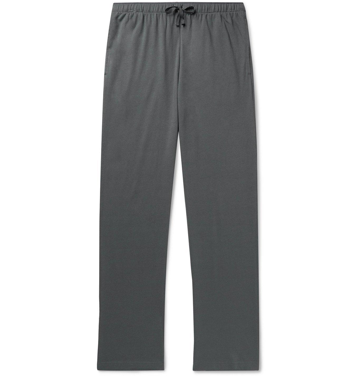 Sunspel - Lounge Cotton and Modal-Blend Jersey Pyjama Trousers - Gray