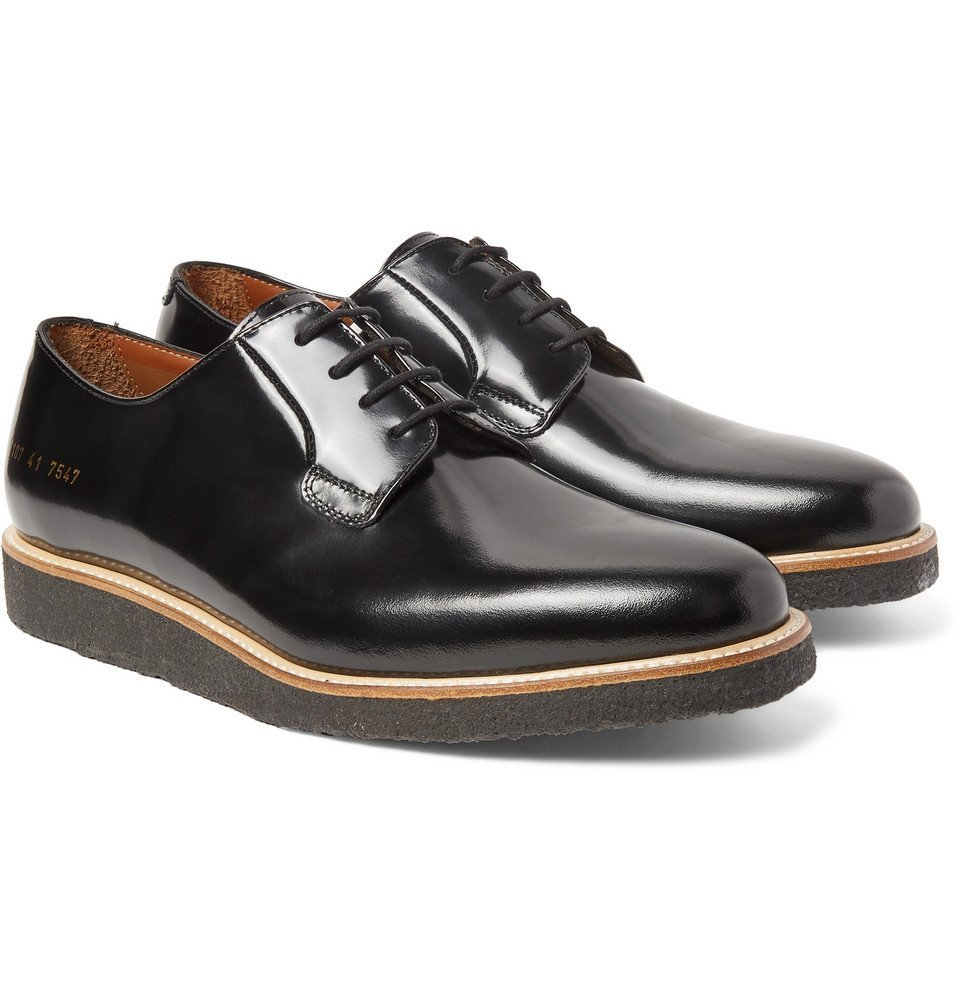 Common Projects - Polished-Leather Derby Shoes - Men - Black