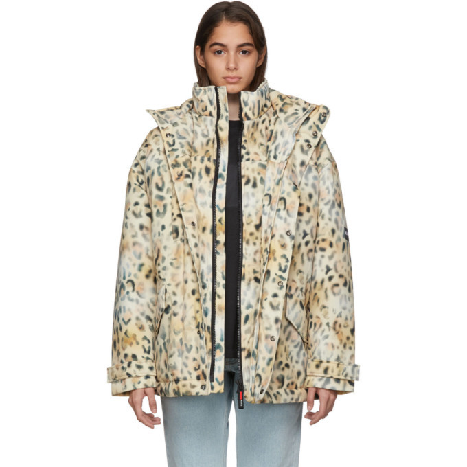 NAPA by Martine Rose Tan A-Jag Leopard Jacket