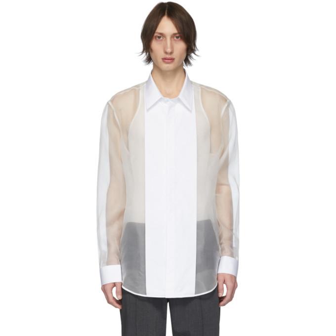 Photo: Helmut Lang Off-White Silk Organza Tuxedo Shirt