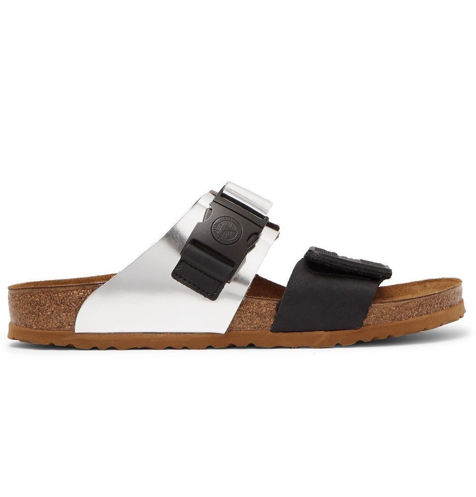 Photo: Rick Owens - Birkenstock Rotterdam Metallic Leather and Rubber Sandals - Silver