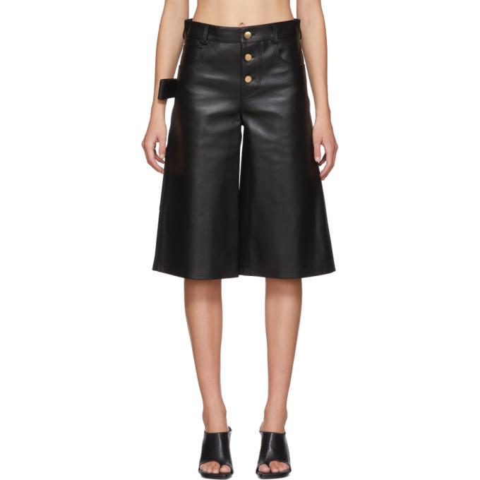 Photo: Bottega Veneta Black Leather Wide-Leg Shorts