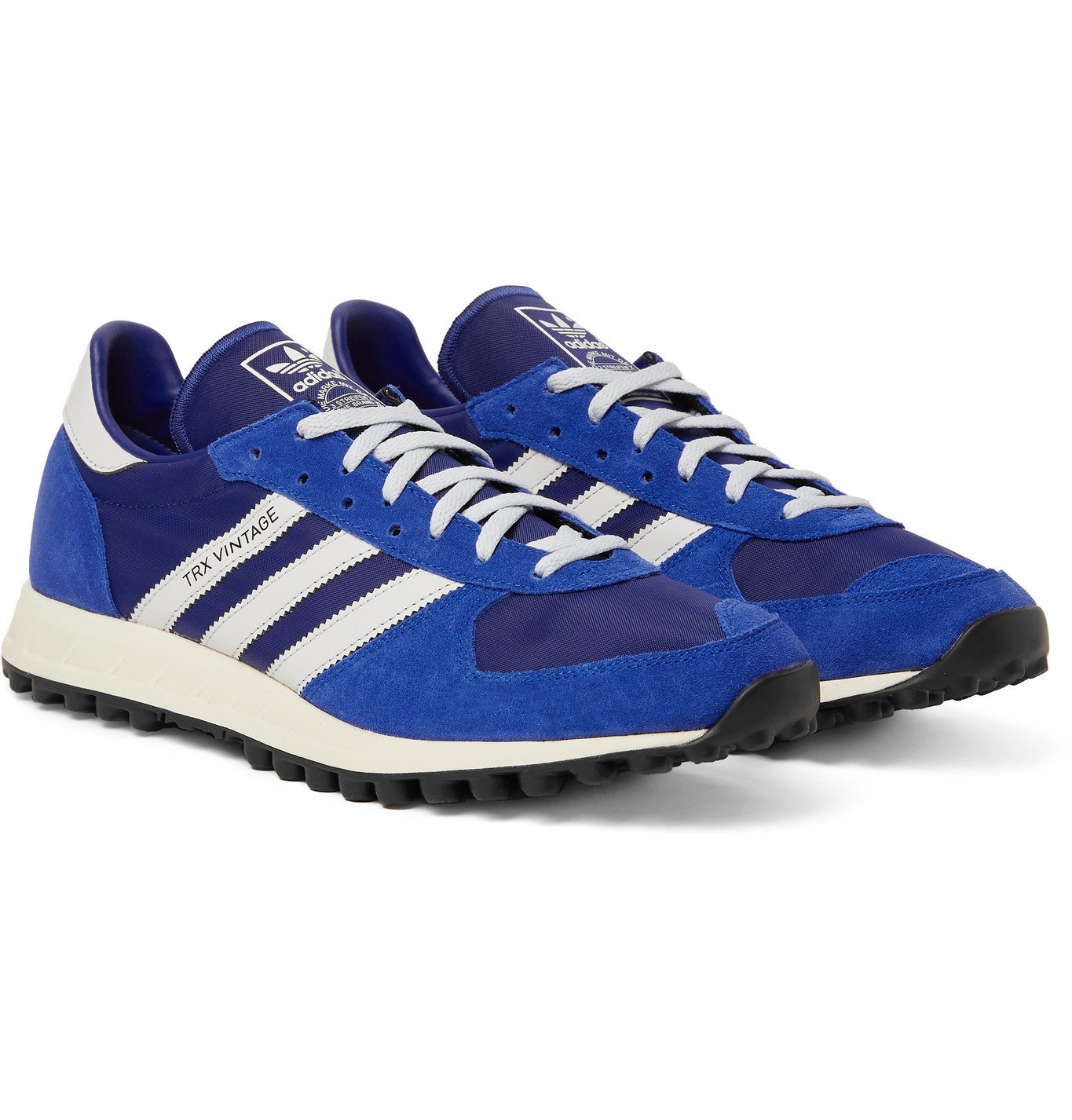 ADIDAS ORIGINALS - SPEZIAL TRX Vintage Leather-Trimmed Shell and Suede Sneakers - Blue