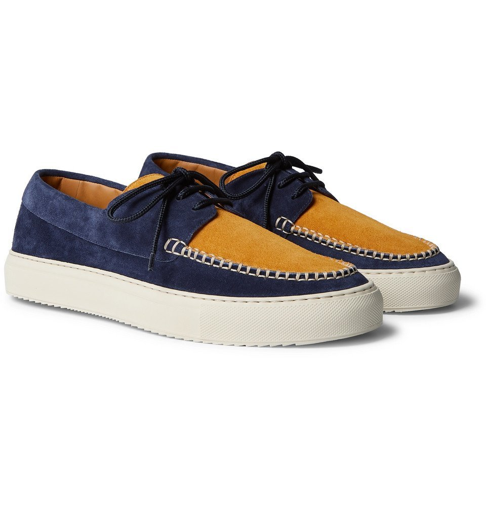 Photo: Mr P. - Dennis Two-Tone Suede Boat Shoes - Multi