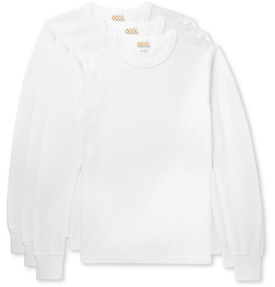 Photo: visvim - Three-Pack Waffle-Knit Cotton T-shirts - White