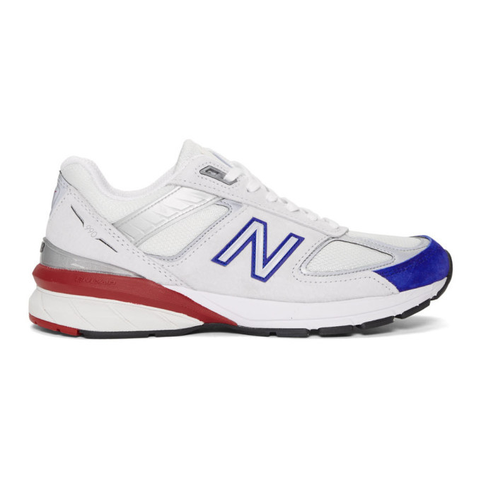 Photo: New Balance Off-White and Blue 990V5 Sneakers