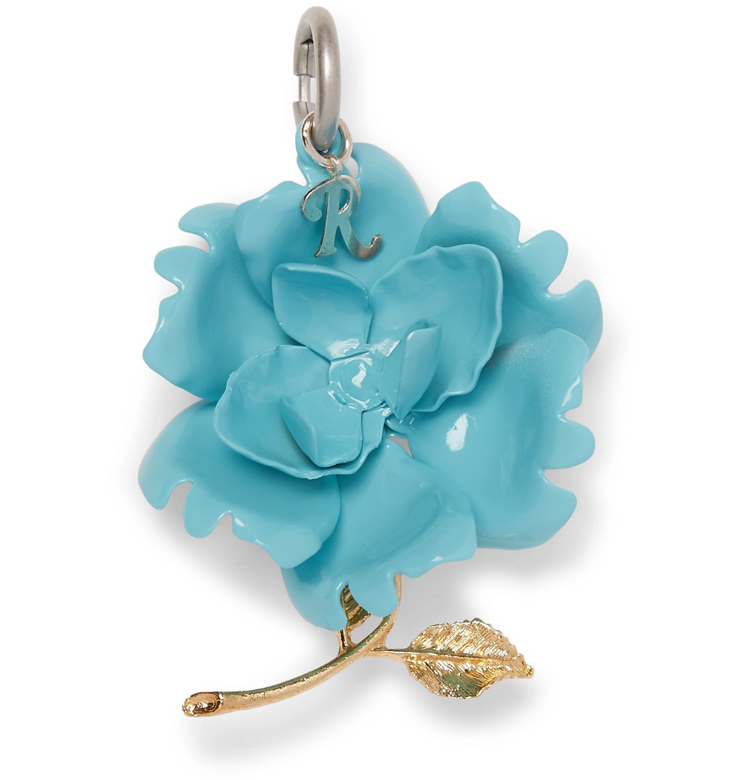 Raf Simons - Rose Bronze and Enamel Charm - Blue