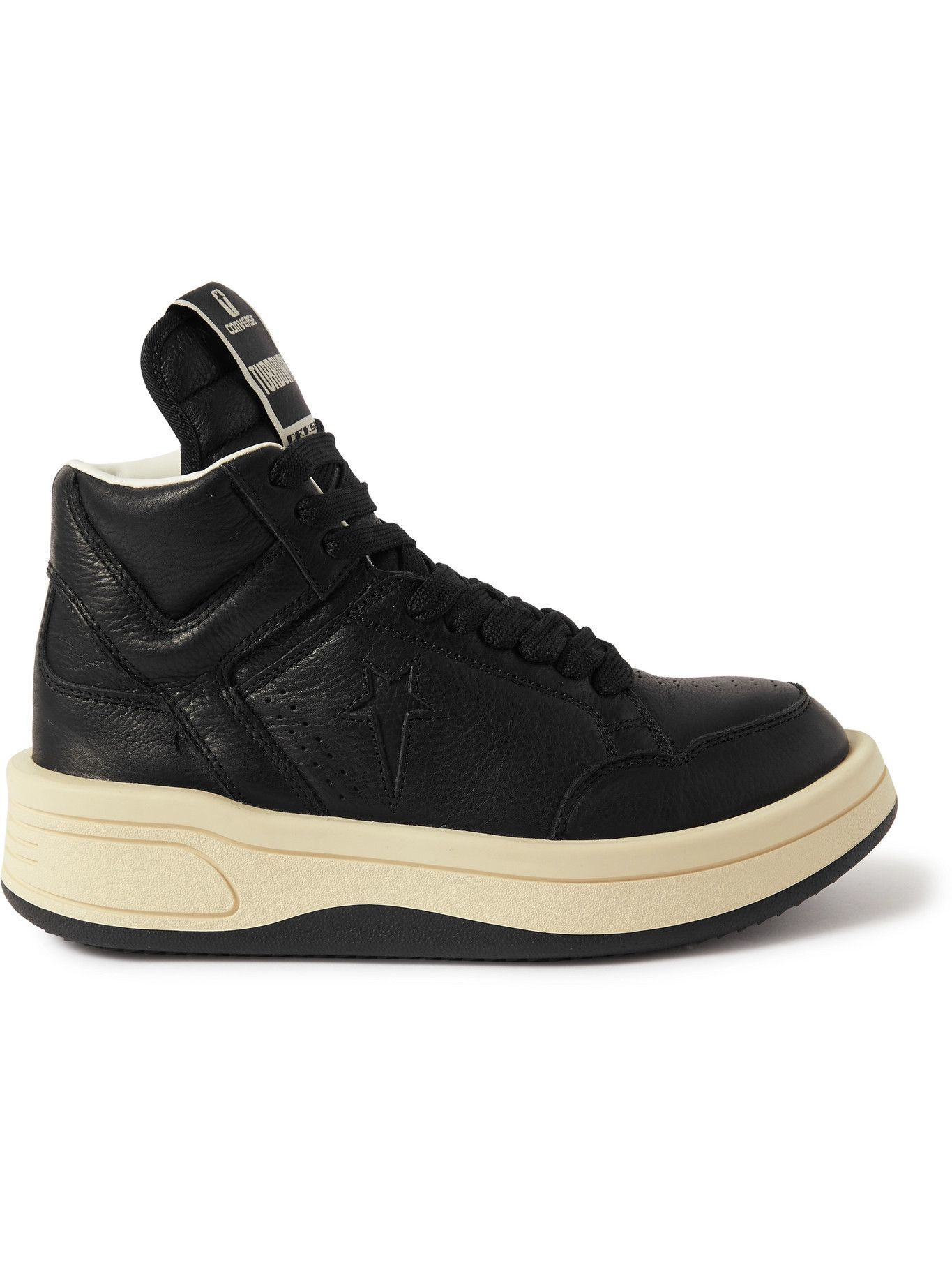Photo: Rick Owens - Converse TURBOWPN Weapon Leather High-Top Sneakers - Black