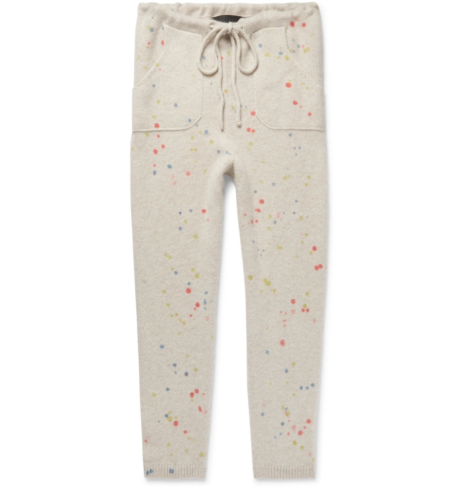 Photo: The Elder Statesman - Slim-Fit Tapered Paint-Splattered Cashmere Sweatpants - Neutrals