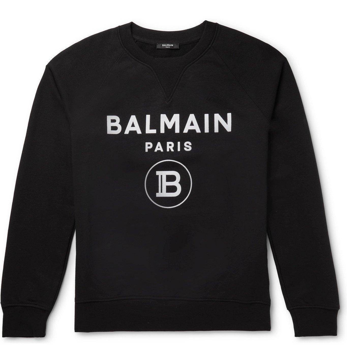Photo: Balmain - Logo-Flocked Loopback Cotton-Jersey Sweatshirt - Black