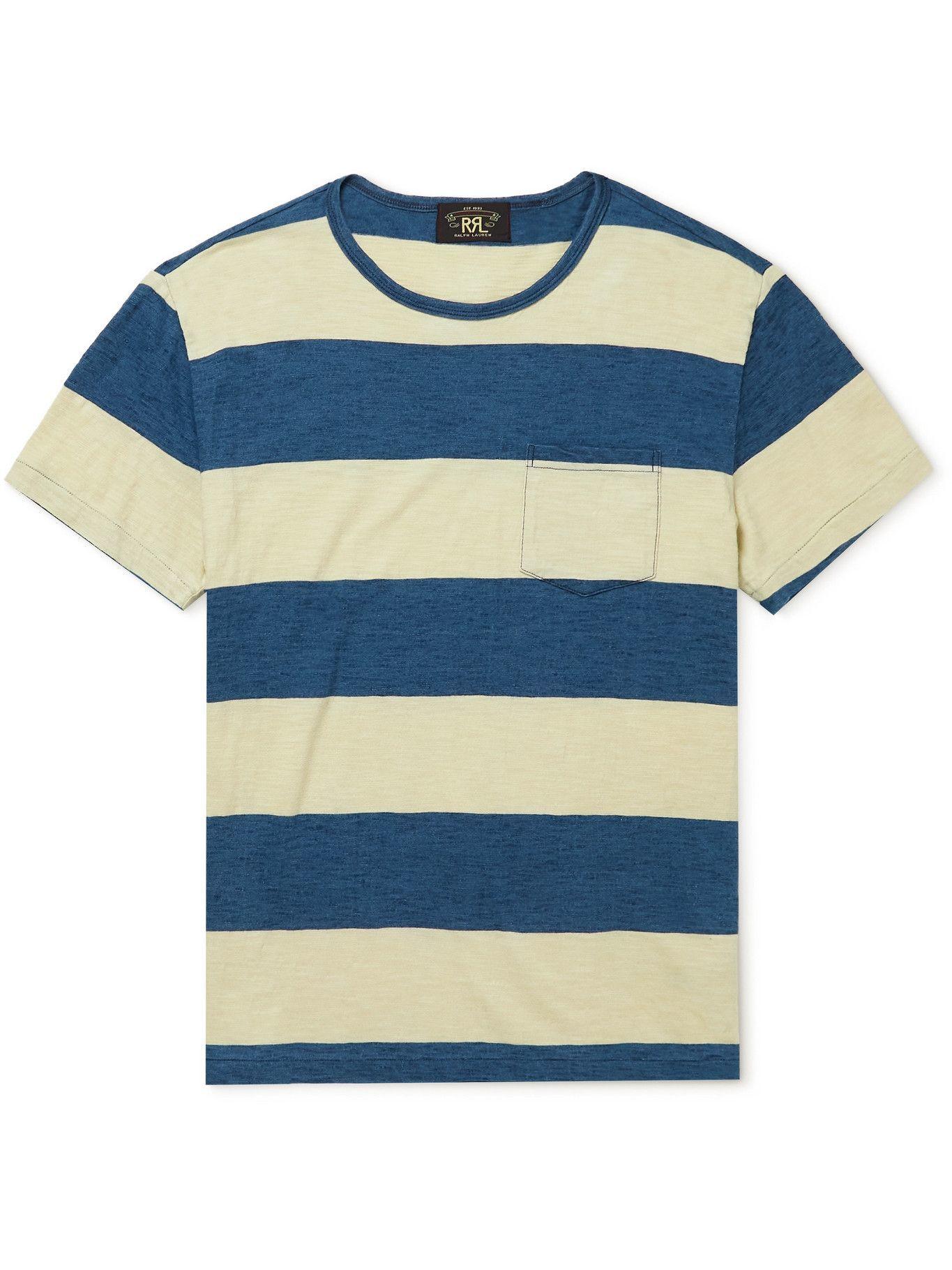 Photo: RRL - Striped Cotton T-Shirt - Blue