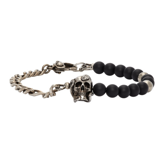 Photo: Alexander McQueen Silver and Black Beaded Skull Bracelet