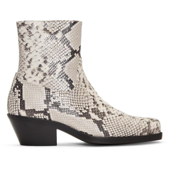 Photo: MISBHV White Snakeskin Iggy Cowboy Boots