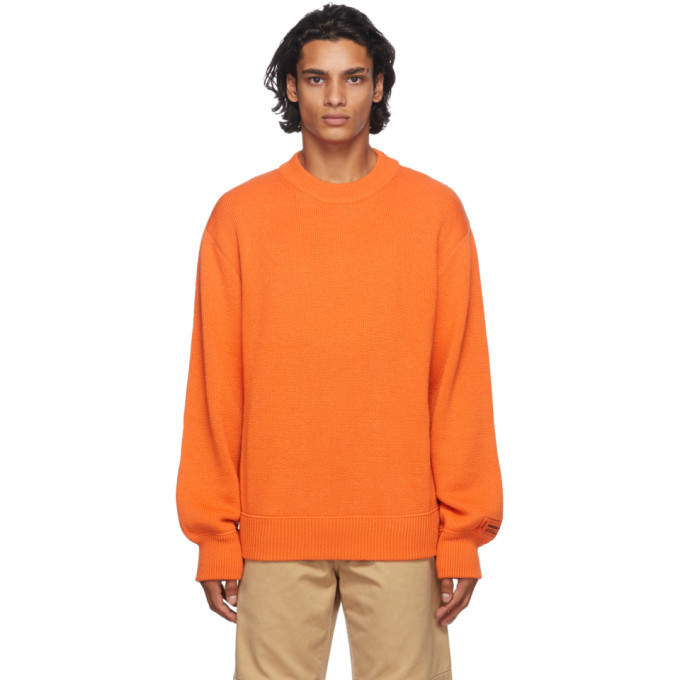 Photo: Heron Preston Orange Heron Stamp Sweater