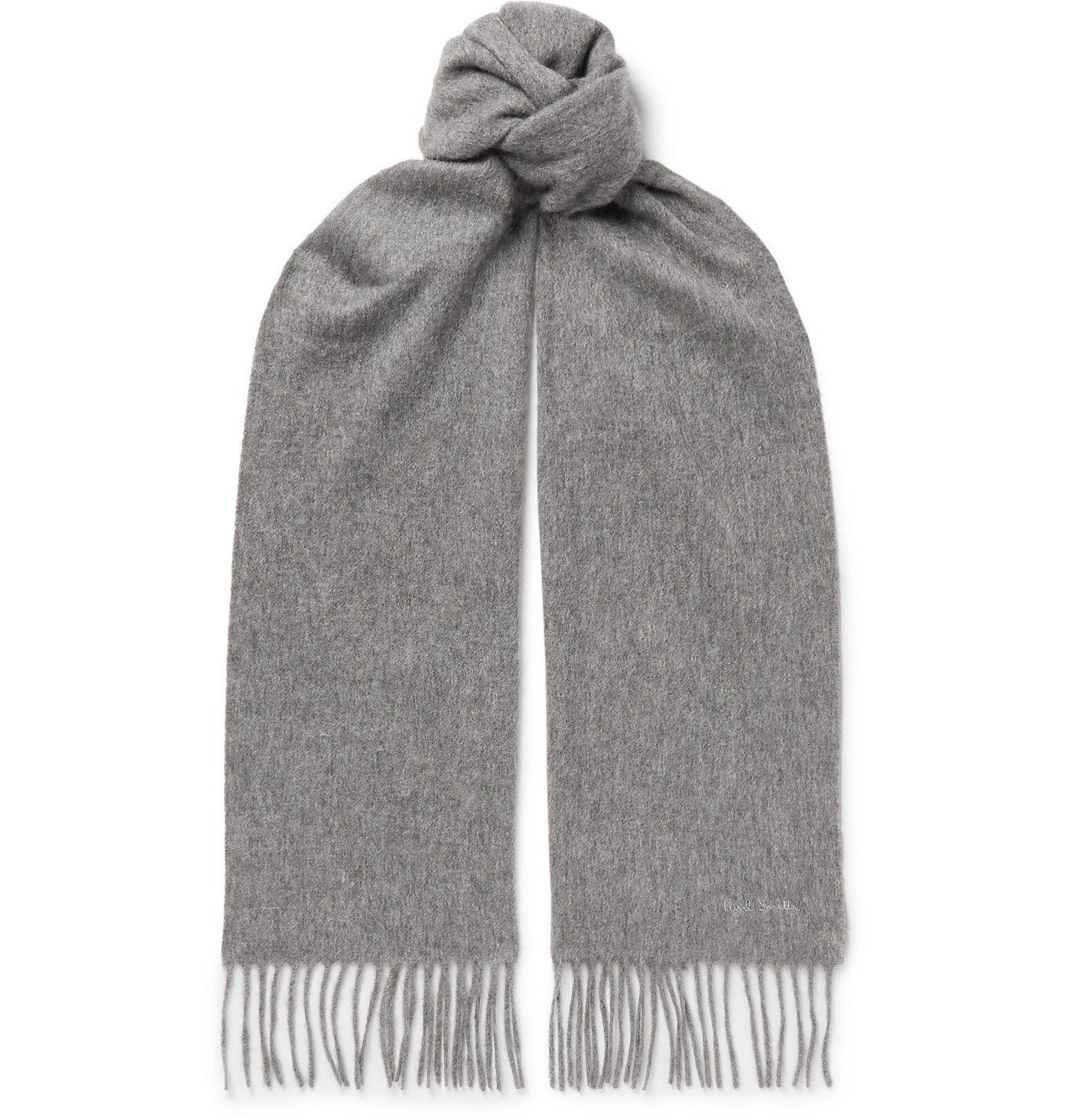 Photo: PAUL SMITH - Logo-Embroidered Fringed Cashmere Scarf - Gray