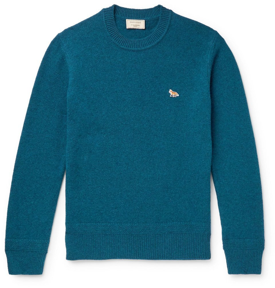 Photo: Maison Kitsuné - Logo-Appliquéd Wool Sweater - Blue