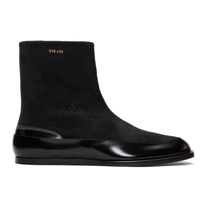 Photo: Maison Margiela Black Suede Flat Tabi Boots