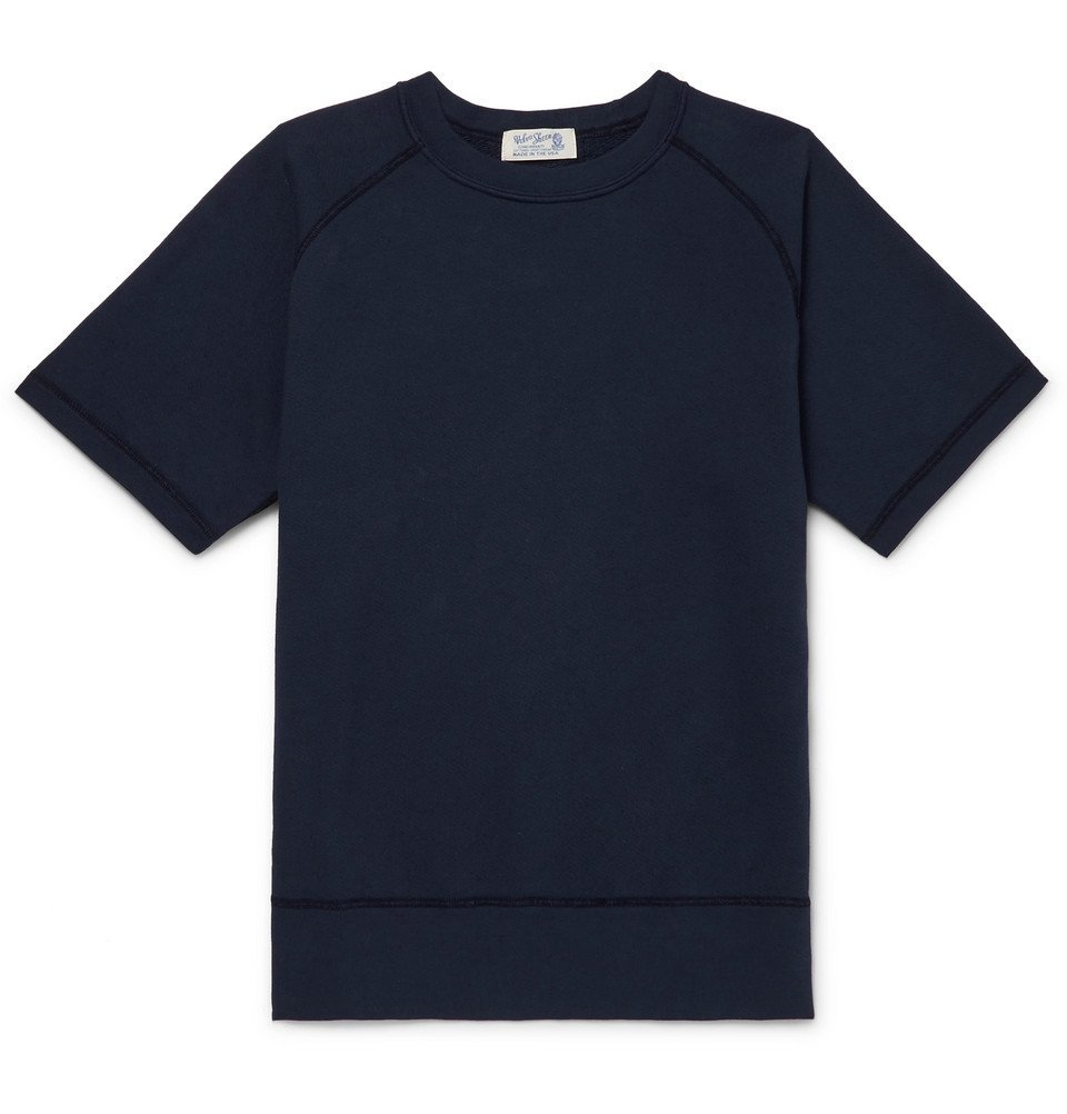 Photo: Velva Sheen - Loopback Cotton-Jersey T-Shirt - Navy