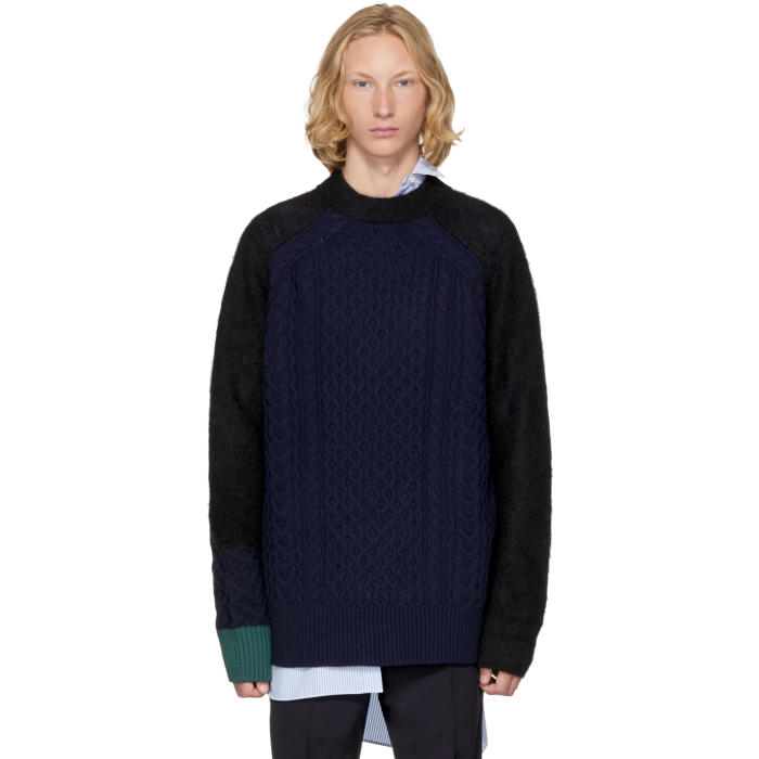 Sacai Navy Cable Knit Sweater
