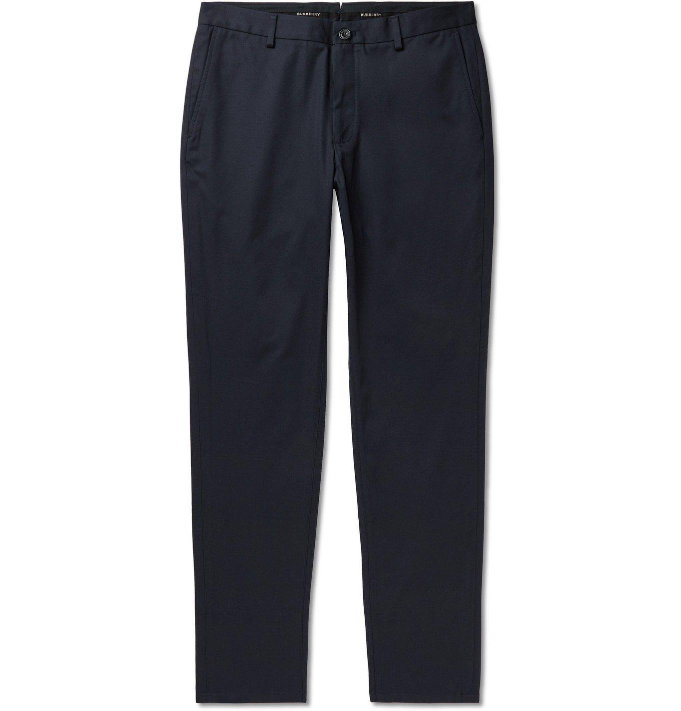 Photo: Burberry - Slim-Fit Cotton-Twill Chinos - Blue