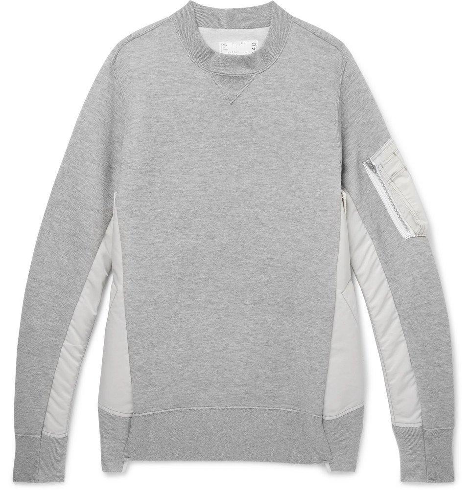 Sacai - Oversized Nylon-Panelled Loopback Cotton-Blend Jersey Sweatshirt - Gray