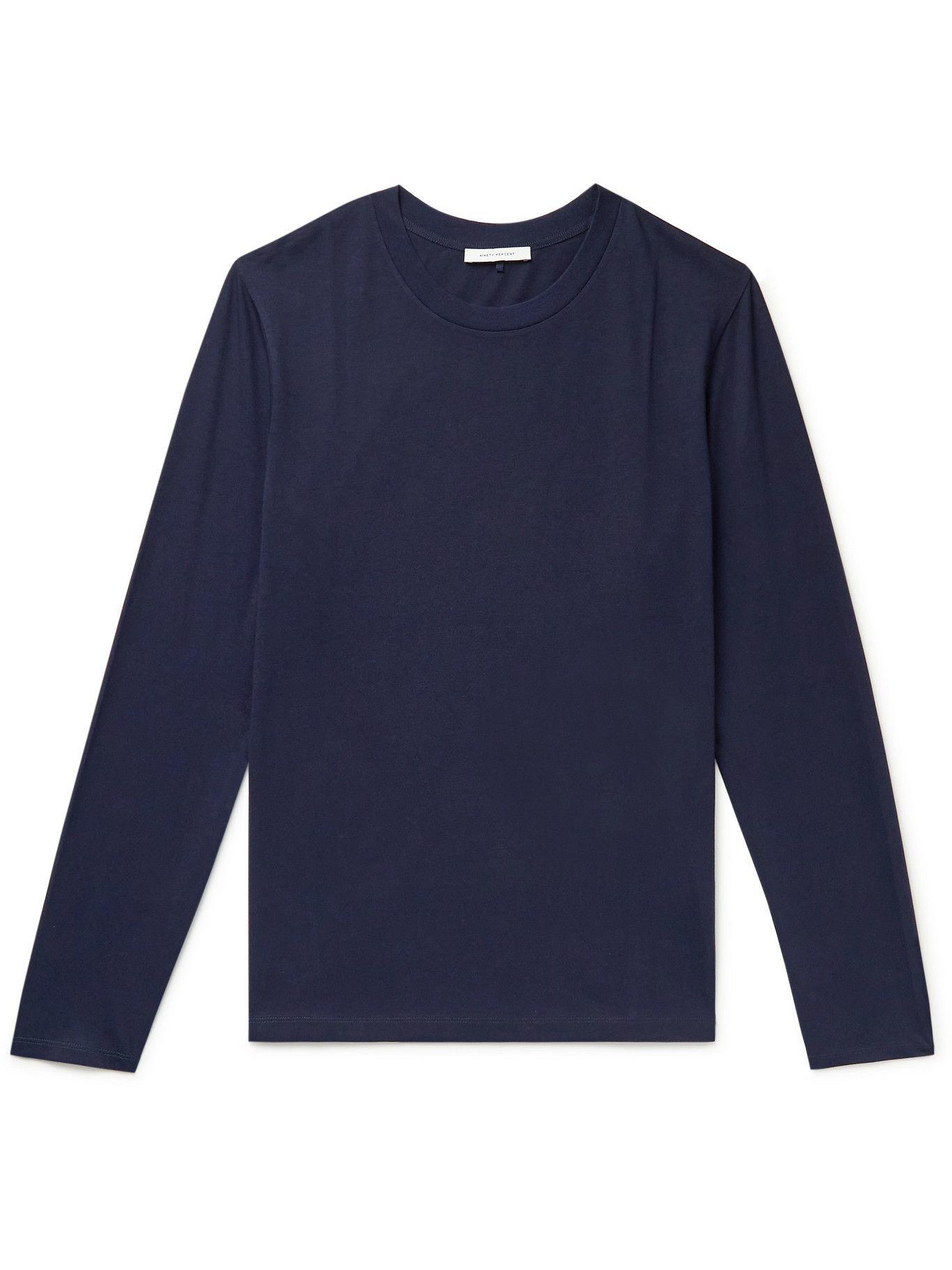 Photo: Ninety Percent - Organic Cotton-Jersey T-Shirt - Blue