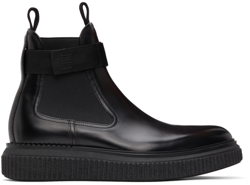 Photo: Dunhill Black Strap Creeper Chelsea Boots