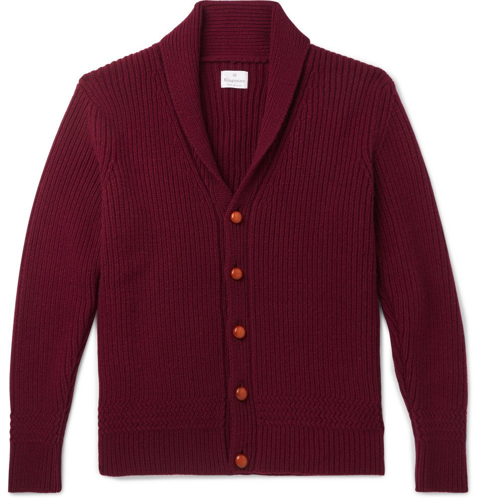 Photo: Kingsman - Slim-Fit Shawl-Collar Ribbed Wool and Cashmere-Blend Cardigan - Burgundy