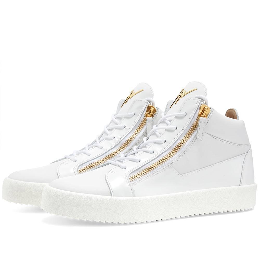 Photo: Giuseppe Zanotti Double Zip Leather Mid Sneaker White & Gold