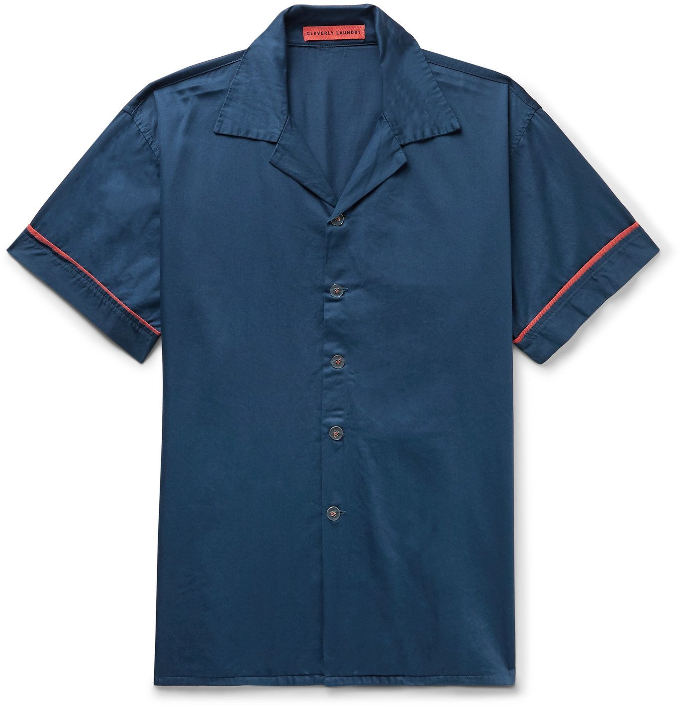 Photo: Cleverly Laundry - Piped Garment-Dyed Washed-Cotton Pyjama Shirt - Blue