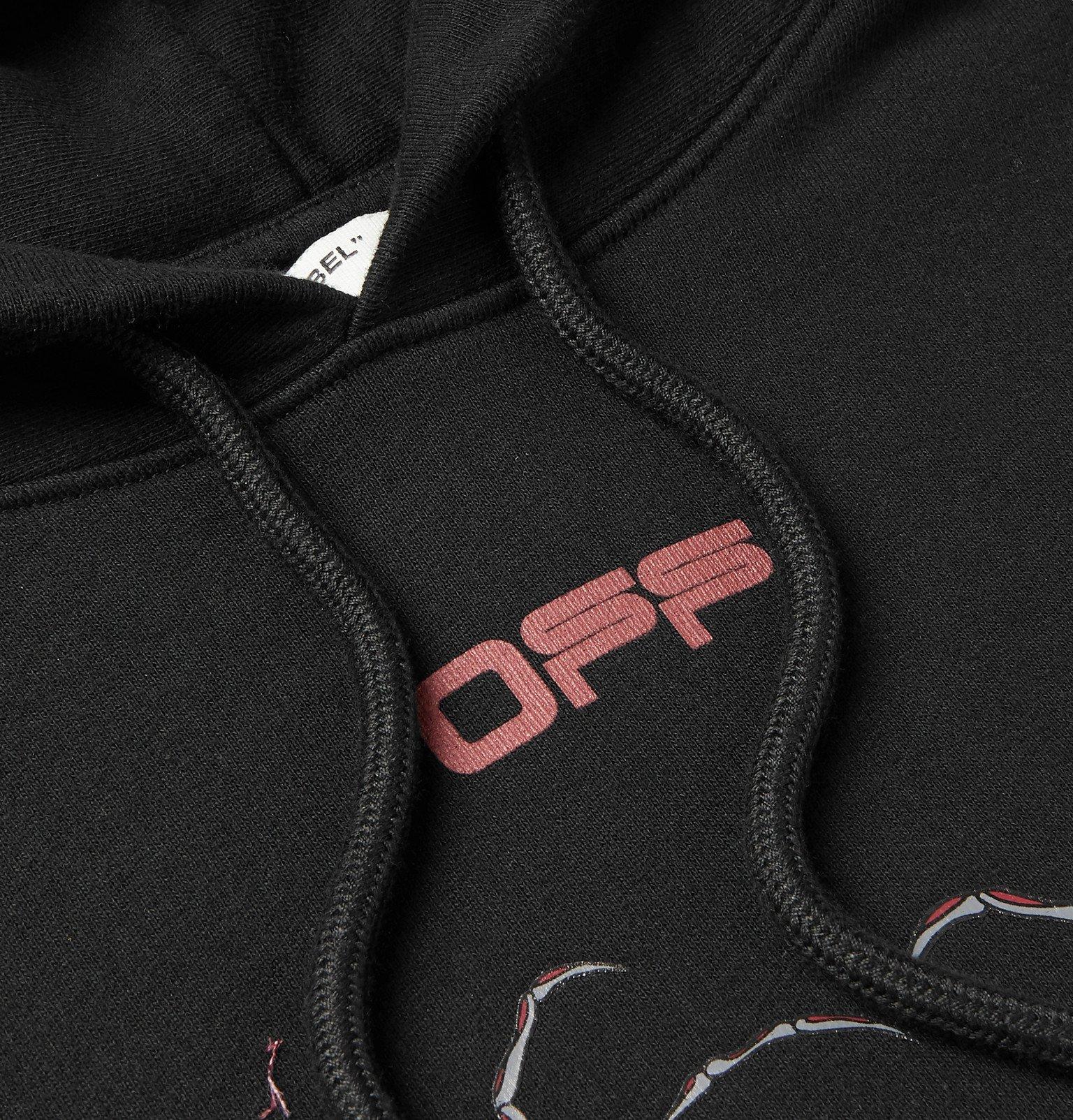 Off-White - Logo-Print Loopback Cotton-Jersey Hoodie - Black