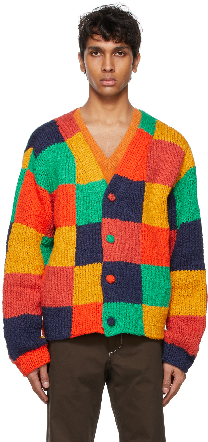 Photo: The Elder Statesman Red Colorblocked Squares Cardigan