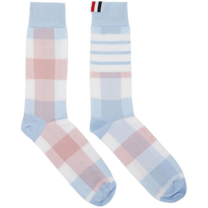 Photo: Thom Browne Blue and Pink 4-Bar Check Mid-Calf Socks